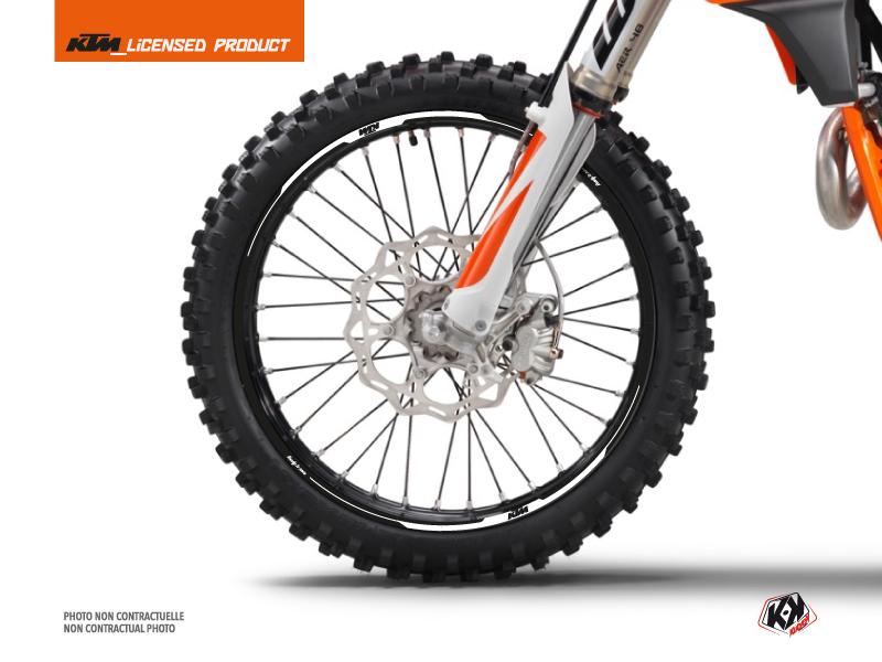 Kit Déco Tour de jantes Retro Moto Cross KTM SX-SXF EXC-EXCF Noir