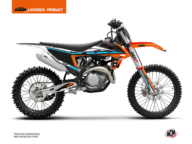 KTM 250 SXF Dirt Bike Rift Graphic Kit Orange Blue