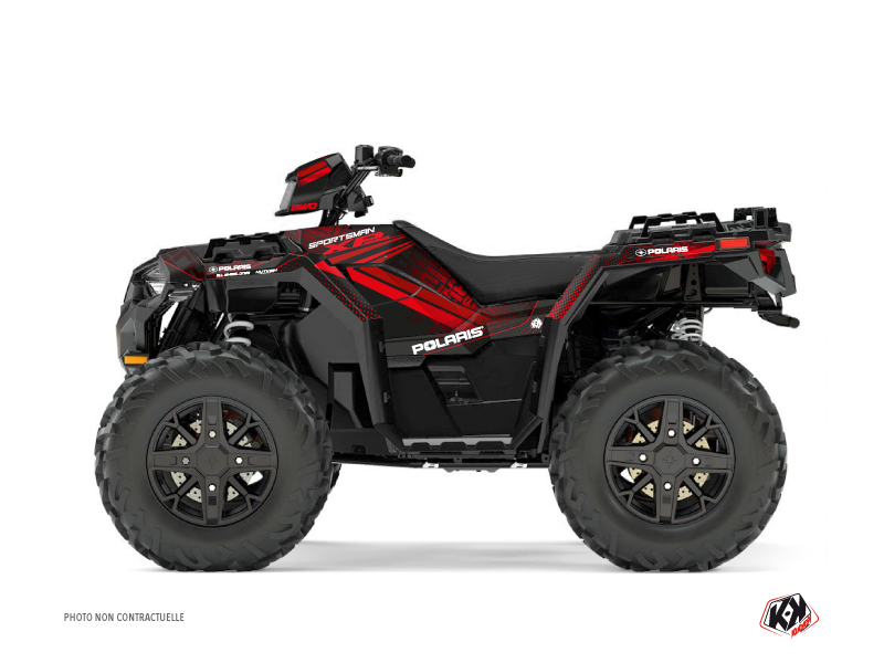 Polaris 1000 Sportsman XP Forest ATV Rock Graphic Kit Black Red