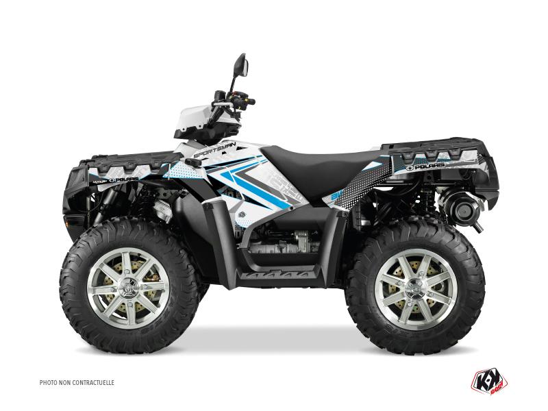 Polaris 1000 Sportsman Forest ATV Rock Graphic Kit White Blue