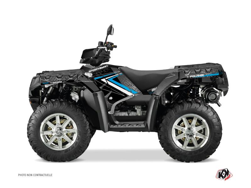Polaris 550-850-1000 Sportsman Touring ATV Rock Graphic Kit Black Blue