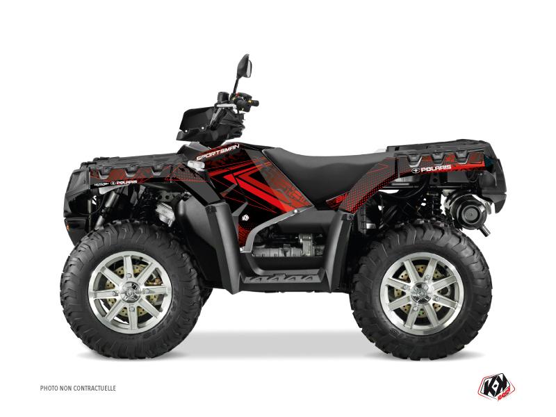 Polaris 550-850-1000 Sportsman Touring ATV Rock Graphic Kit Black Red