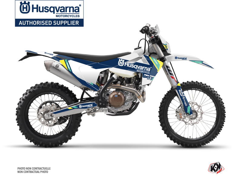 Husqvarna 125 TE Dirt Bike Rocky Graphic Kit Blue