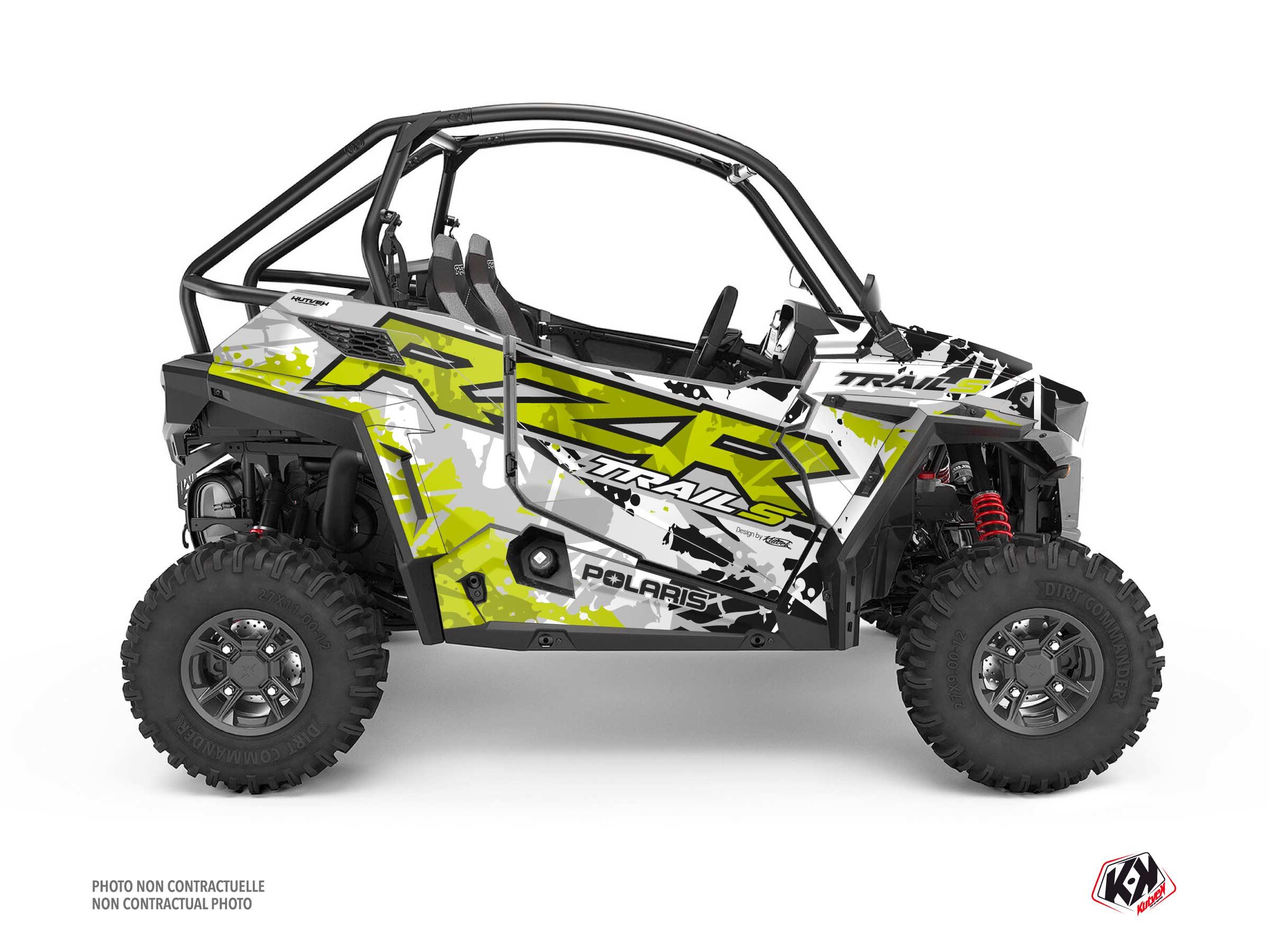 Polaris RZR Trail S UTV v Graphic Kit Green Neon