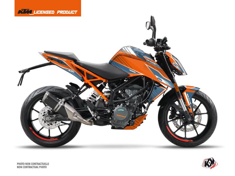 Kit Déco Moto Slash KTM Duke 125 Orange Bleu