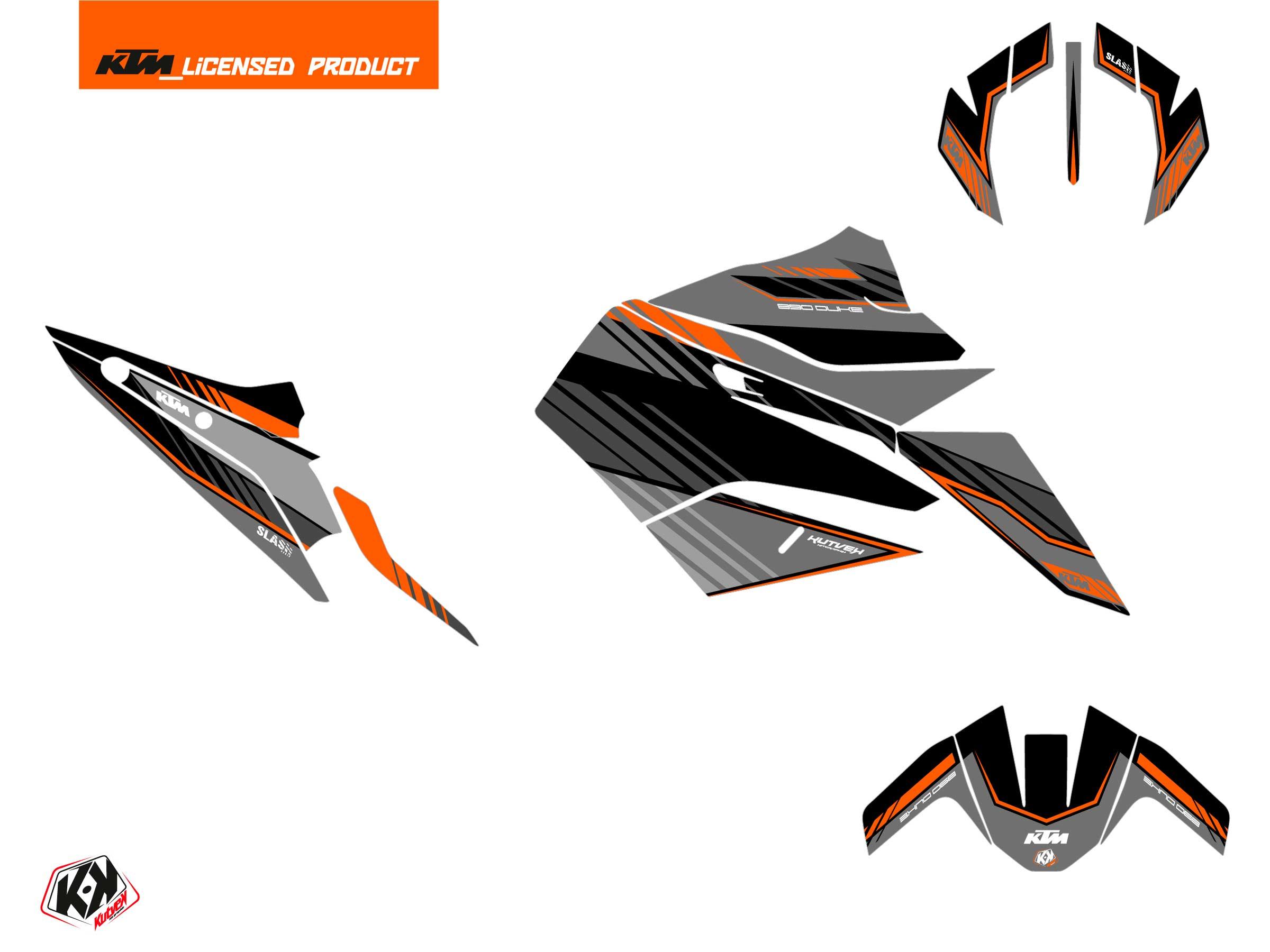 KTM Duke 890 Street Bike Slash Graphic Kit Black Orange