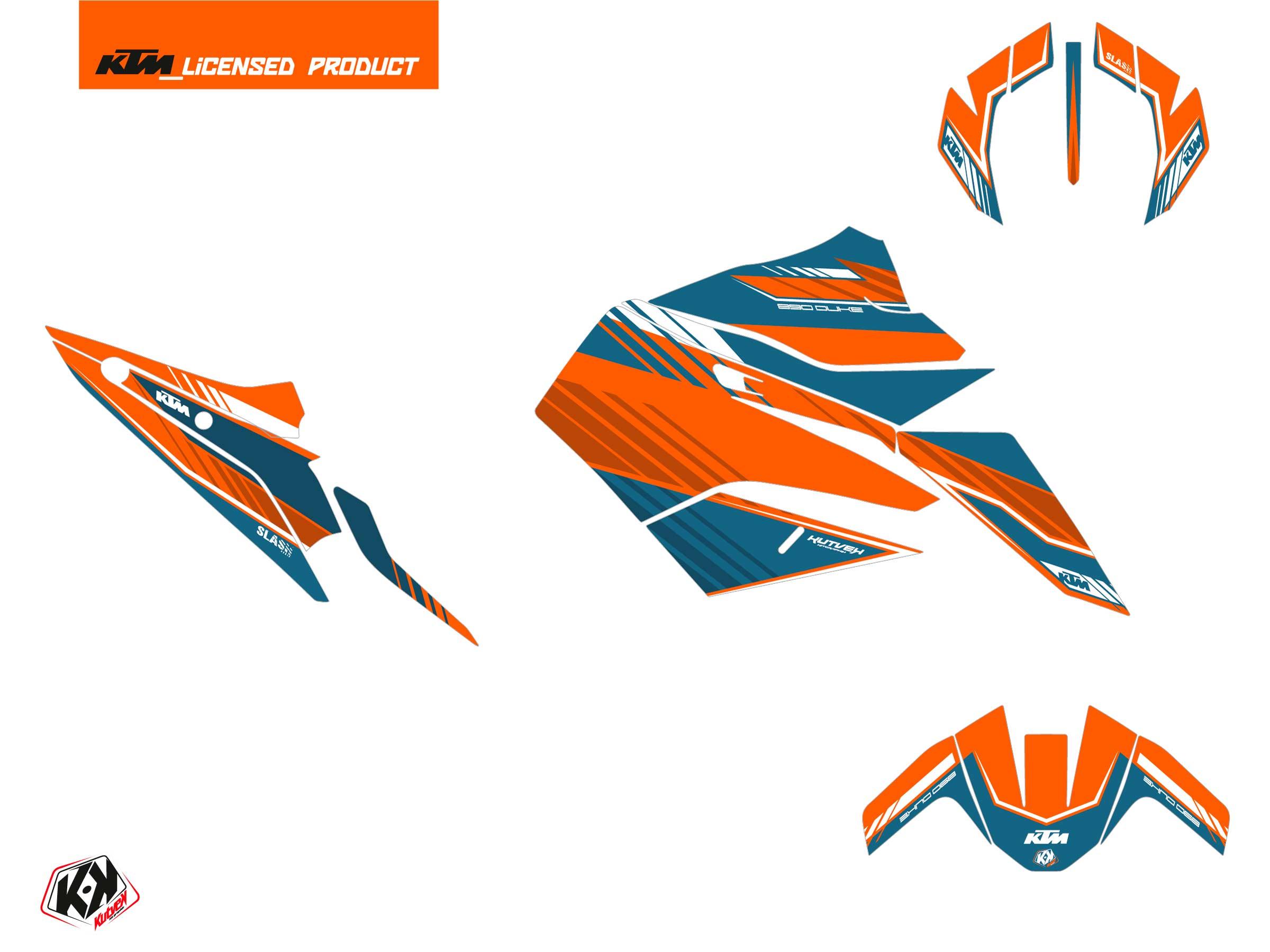 KTM Duke 890 Street Bike Slash Graphic Kit Orange Blue