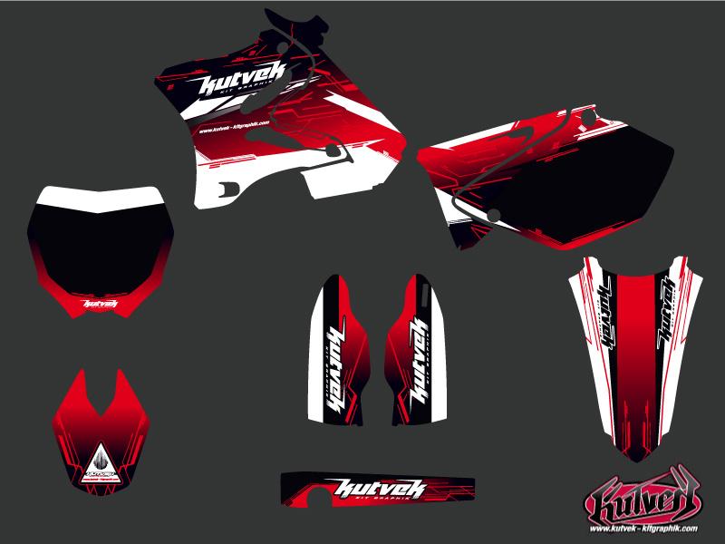 Yamaha 125 YZ Dirt Bike Slider Graphic Kit Red