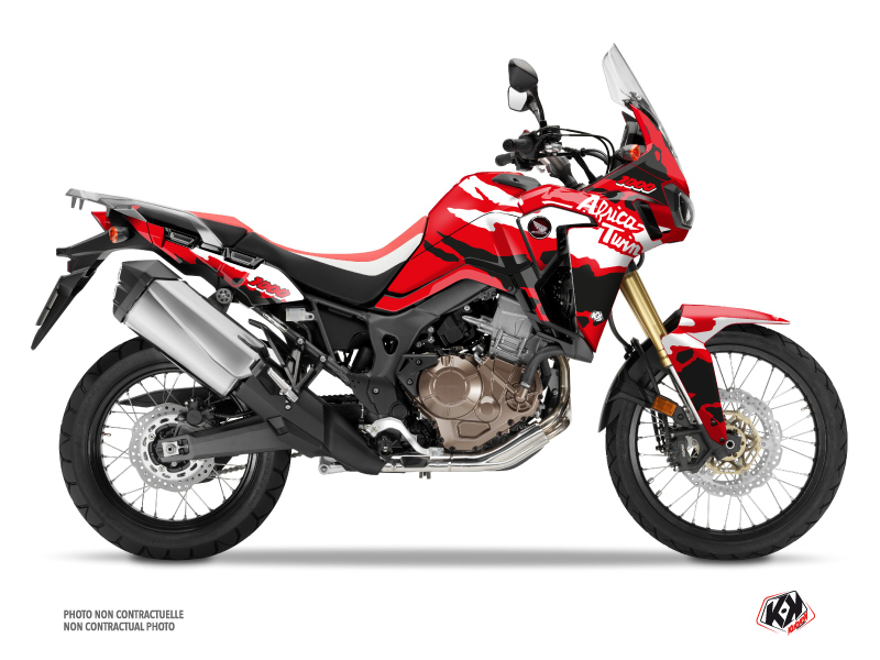 Honda Africa Twin CRF 1000 L Street Bike Splash Graphic Kit Red Black