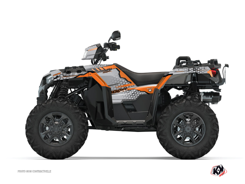Polaris 1000 Sportsman XP S Forest ATV Splinter Graphic Kit Grey Orange