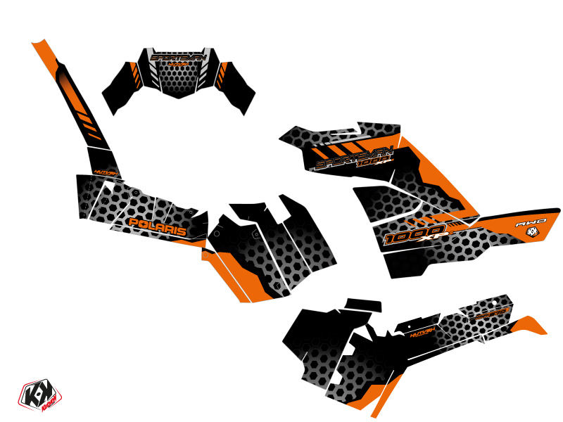 Polaris 1000 Sportsman XP S Forest ATV Splinter Graphic Kit Black Orange
