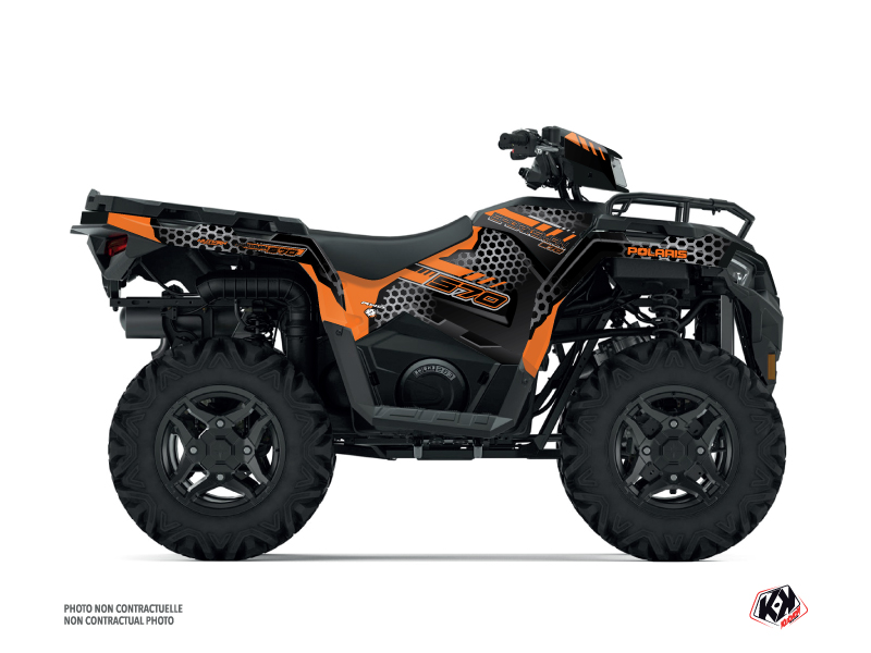 Polaris 570 Sportsman ATV Splinter Graphic Kit Black Orange