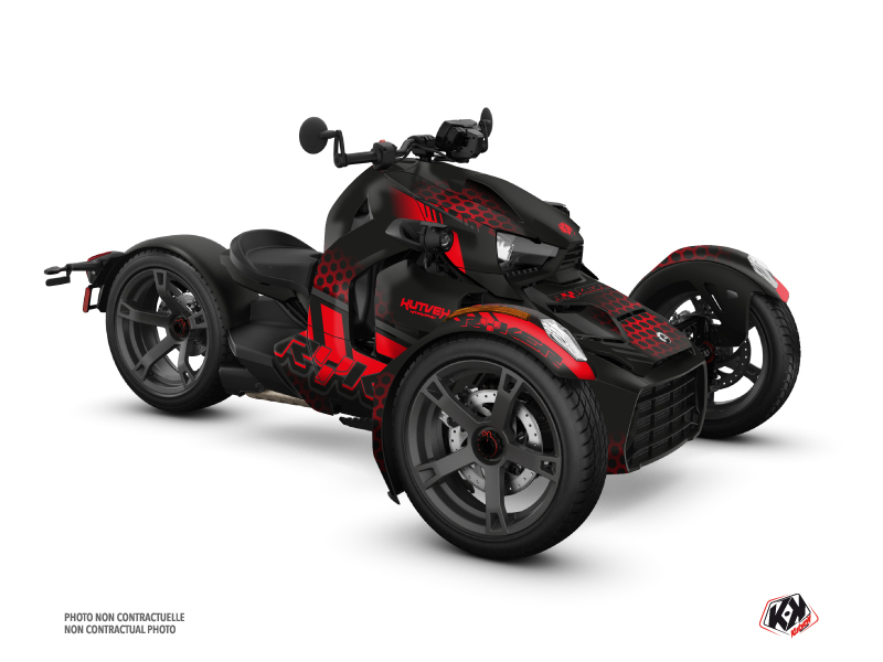 Can Am Ryker 600 900 Roadster Splinter Graphic Kit Black Red
