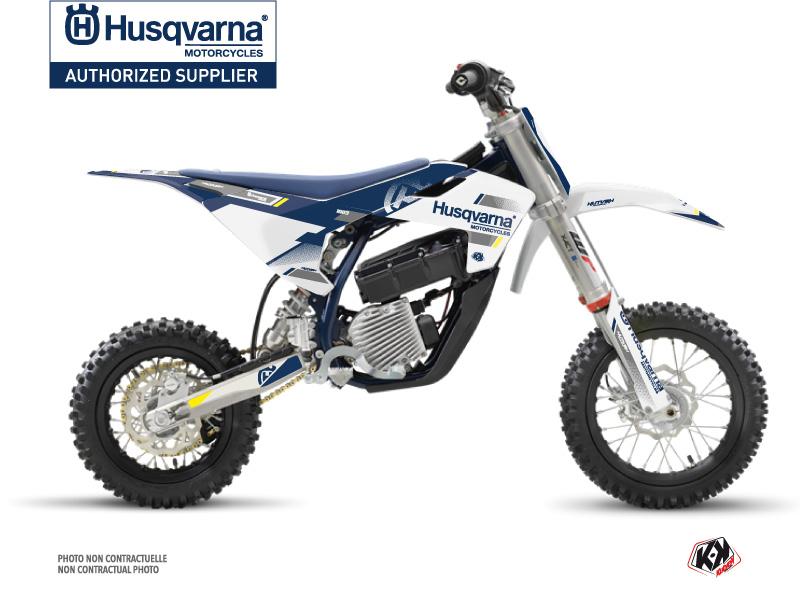 Kit Déco Moto Cross Split Husqvarna EE-5 Blanc Bleu