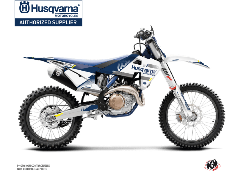 Husqvarna 350 FE Dirt Bike Split Graphic Kit White Blue
