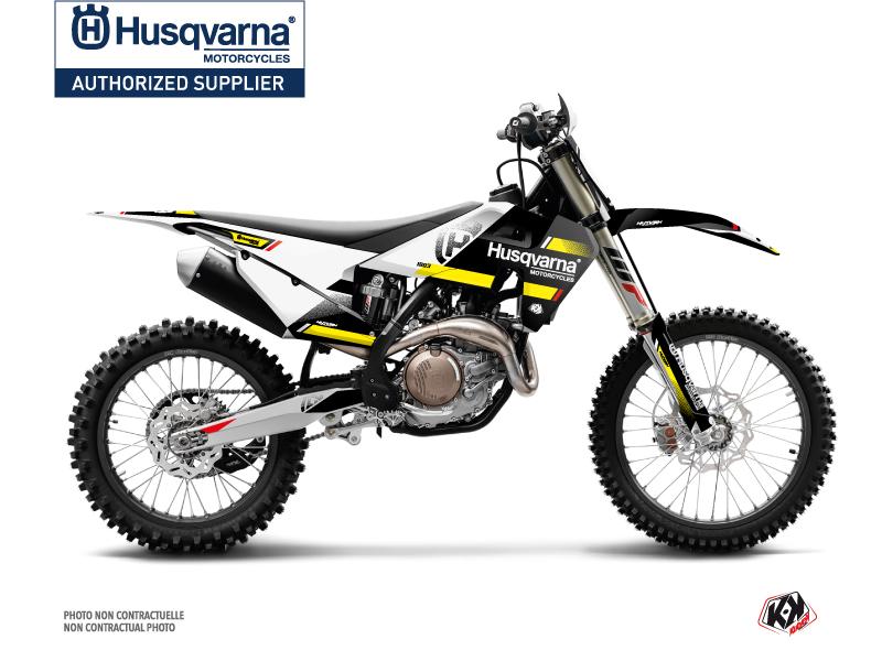 Husqvarna 350 FE Dirt Bike Split Graphic Kit Black Yellow