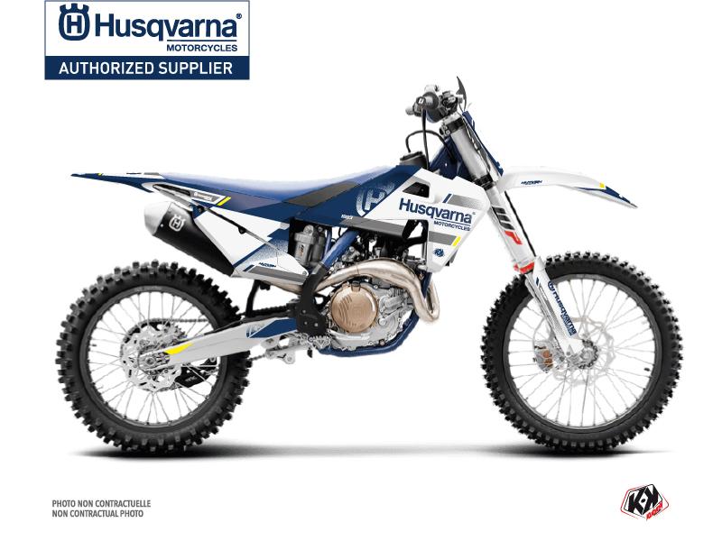 Husqvarna 450 FE Dirt Bike Split Graphic Kit White Blue