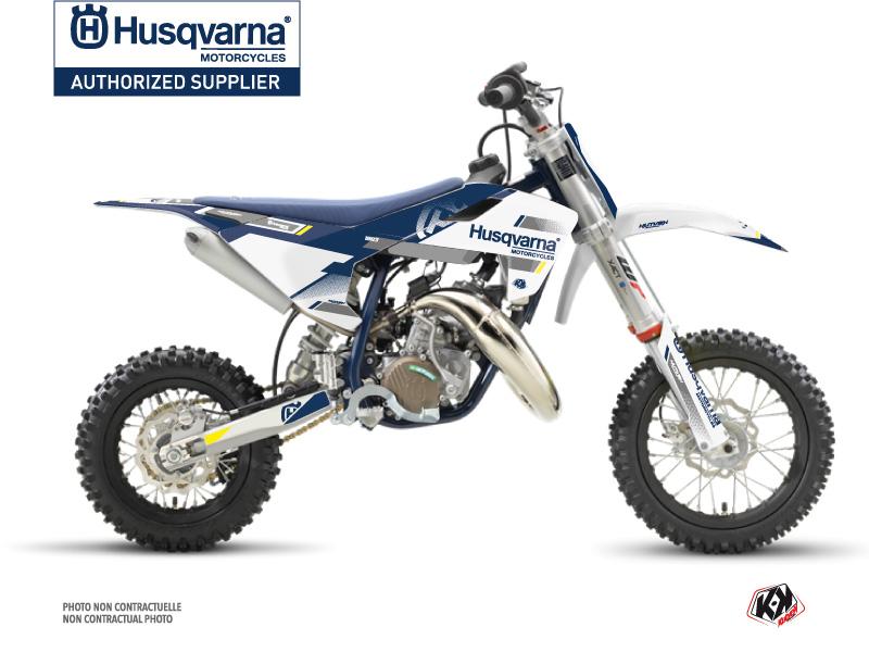 Husqvarna TC 50 Dirt Bike Split Graphic Kit White Blue