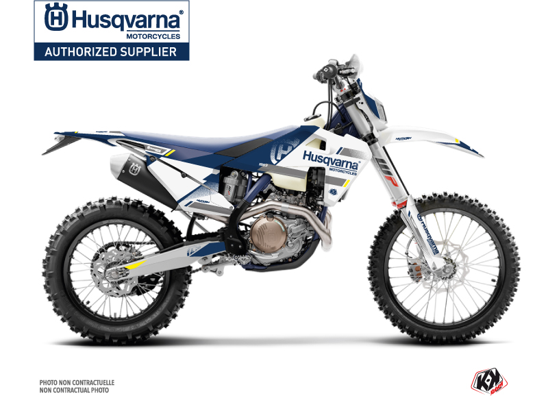 Kit Déco Moto Split Husqvarna 250 TE Blanc Bleu