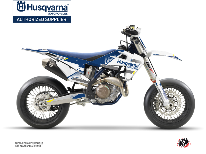 Husqvarna 450 FS Dirt Bike Split Graphic Kit White Blue