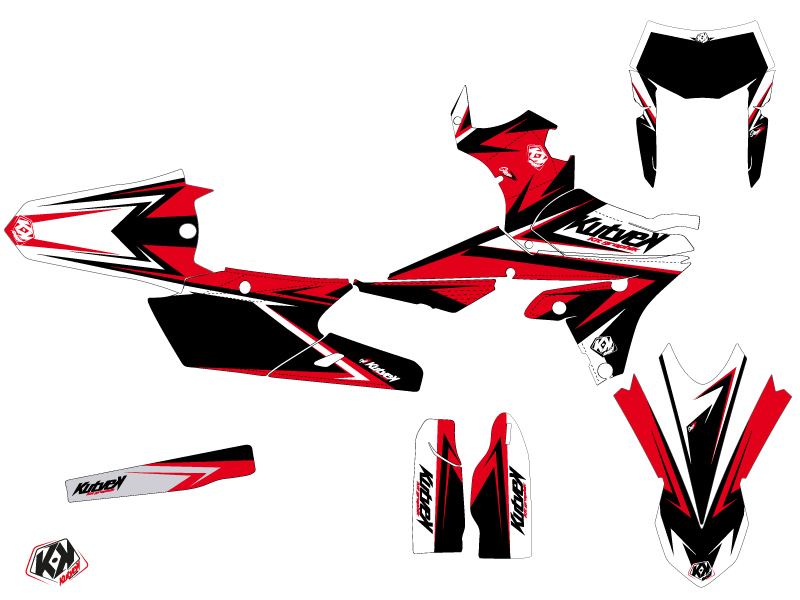 Yamaha 250 WRF Dirt Bike Stage Graphic Kit Black Red