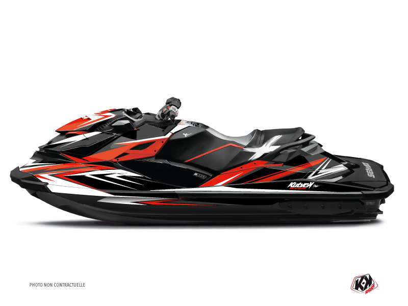 Seadoo GTR-GTI Jet-Ski Stage Graphic Kit Red Black