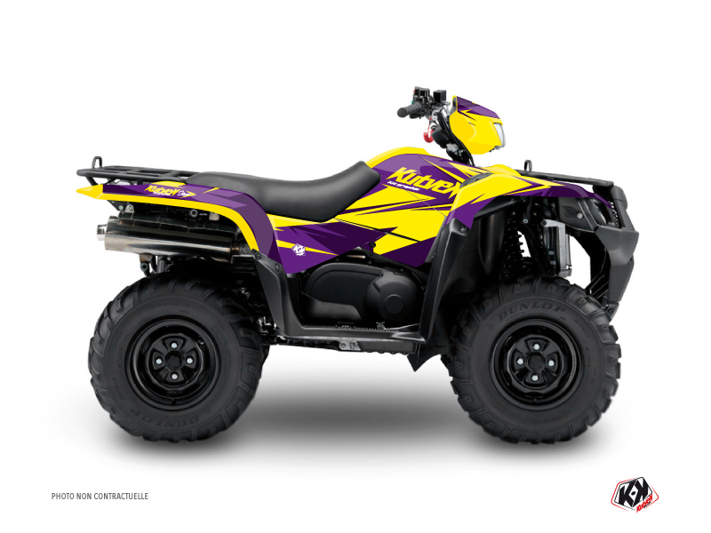 Suzuki King Quad 400 ATV Stage Graphic Kit Yellow Purple