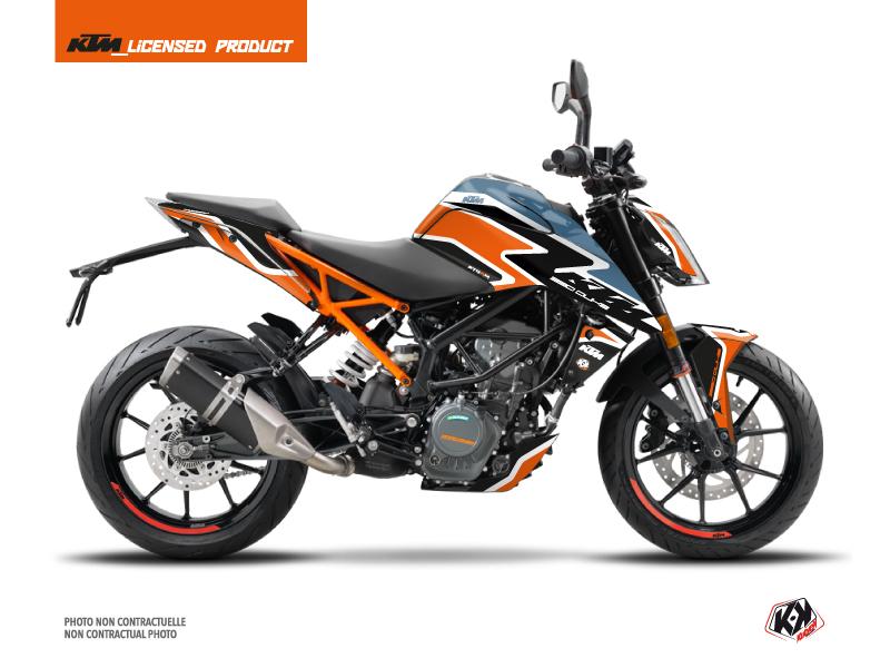 Kit Déco Moto Storm KTM Duke 125 Orange Bleu