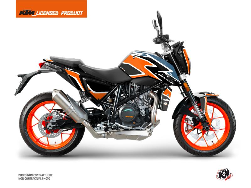 KTM Duke 690 R Street Bike Storm Graphic Kit Orange Blue