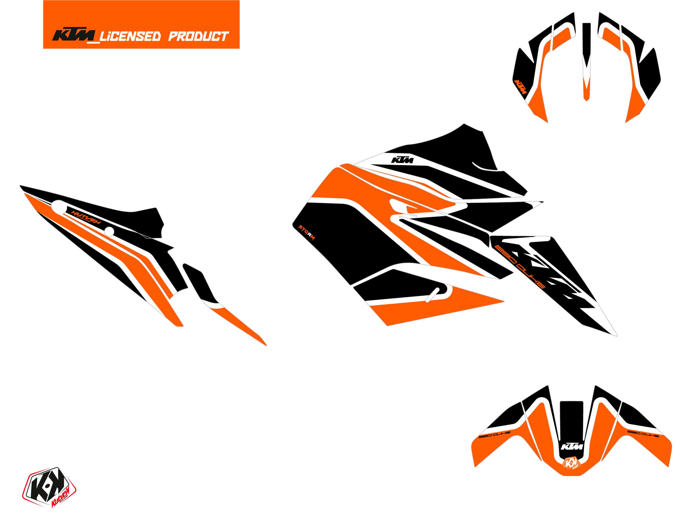 Kit Déco Moto Storm KTM Duke 890 Orange Noir
