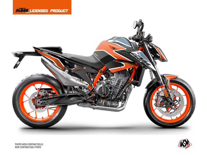 KTM Duke 890 R Street Bike Storm Graphic Kit Orange Blue