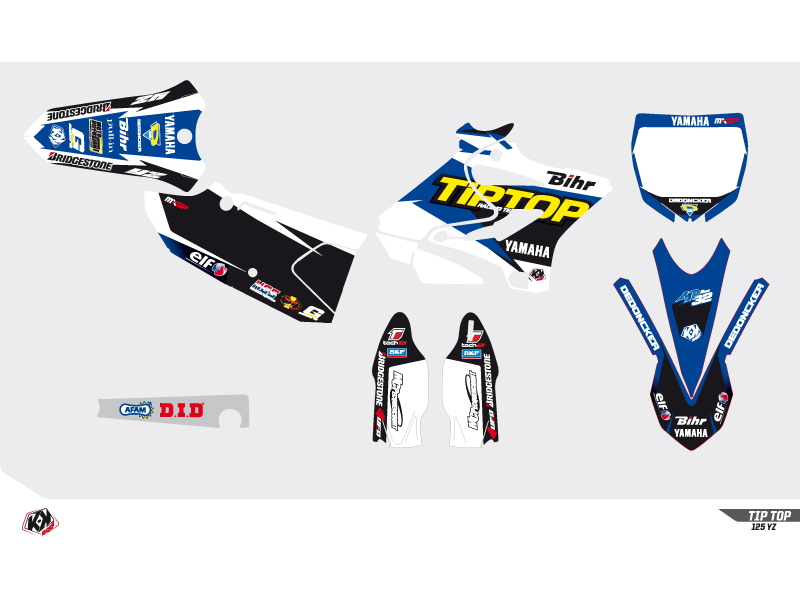 Yamaha 125 YZ Dirt Bike Replica Team Tip Top Graphic Kit 2015