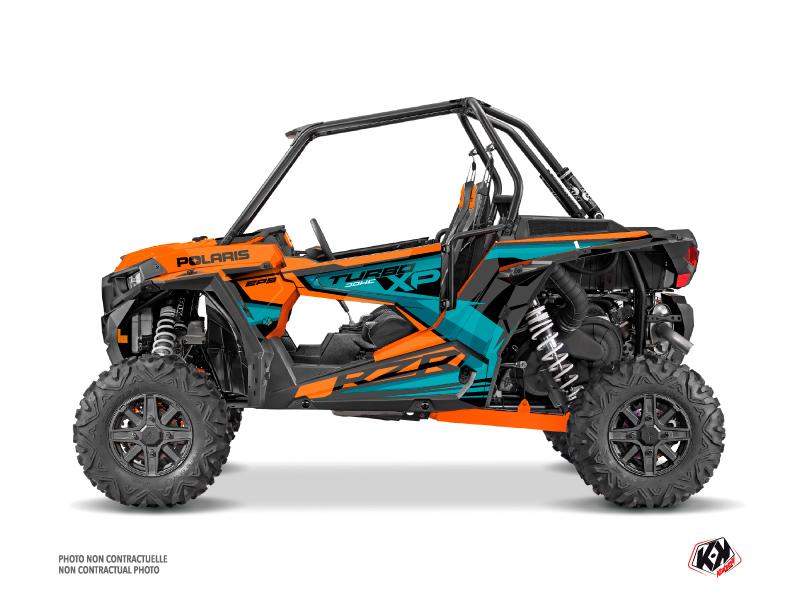 Polaris RZR 1000 Turbo UTV Titanium Graphic Kit Orange Blue