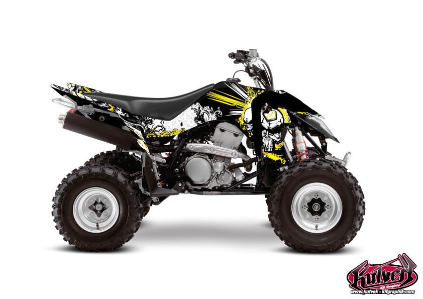 Suzuki 400 LTZ IE ATV Trash Graphic Kit Black Yellow