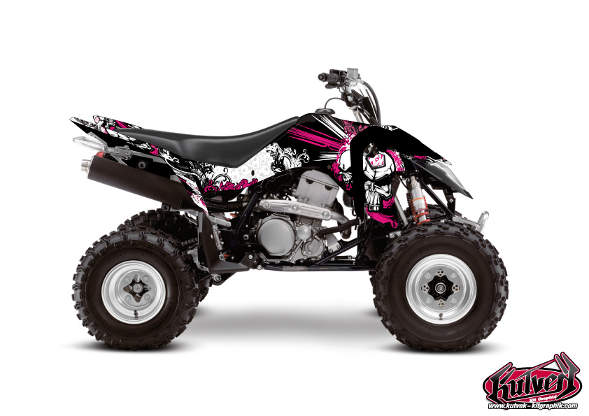 Suzuki 400 LTZ IE ATV Trash Graphic Kit Black Pink