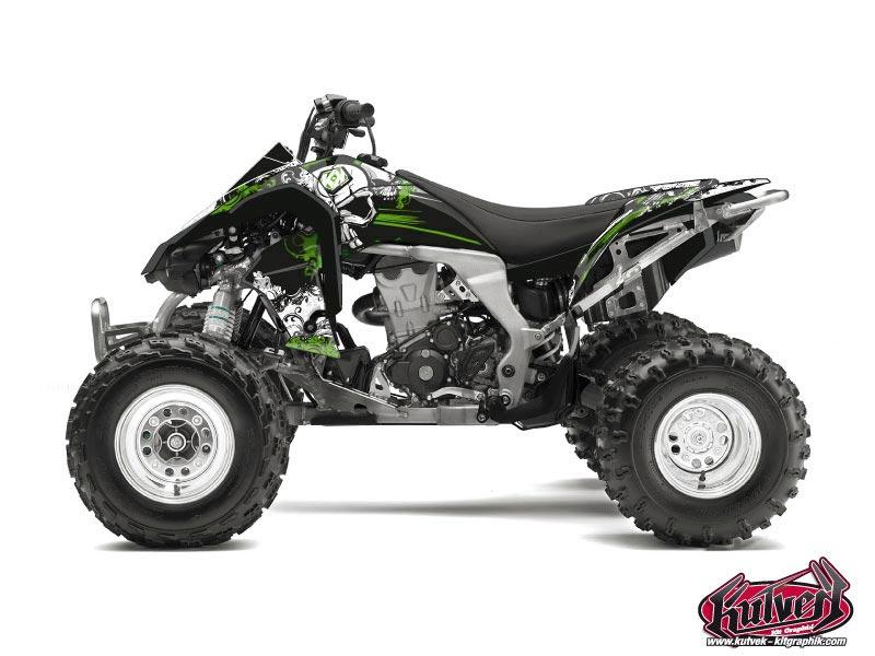 Kawasaki 450 KFX ATV Trash Graphic Kit Black Green