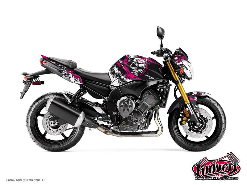 Yamaha FZ 8 Street Bike Trash Graphic Kit Black Pink