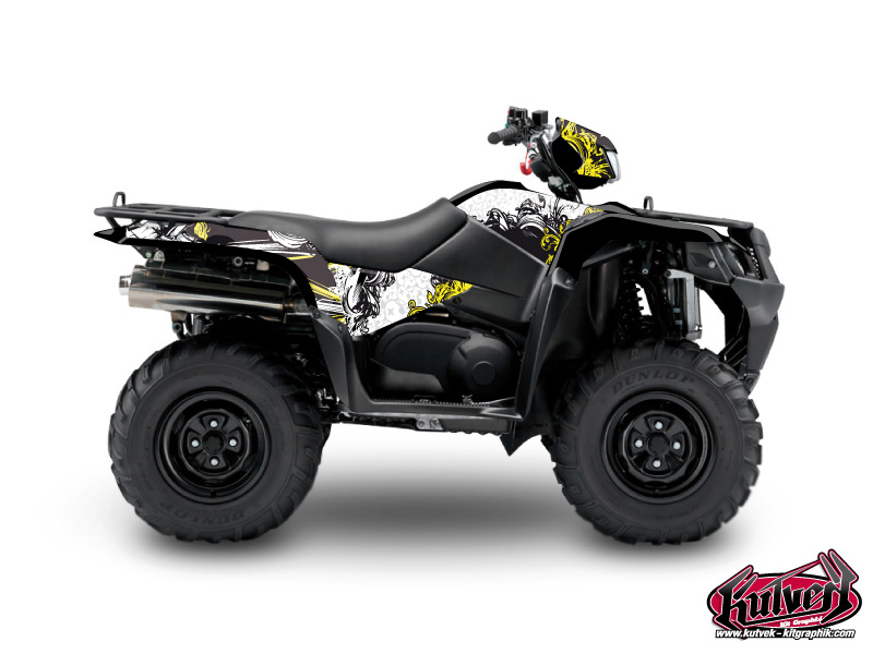 Suzuki King Quad 750 ATV Trash Graphic Kit Black Yellow