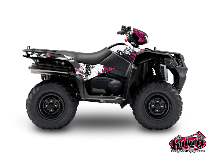 Suzuki King Quad 750 ATV Trash Graphic Kit Black Pink