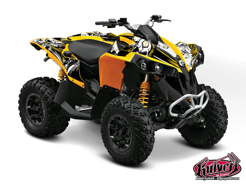 Can Am Renegade ATV Trash Graphic Kit Black Yellow