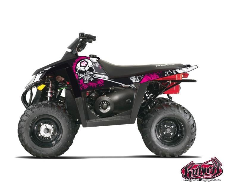 Polaris Scrambler 500 ATV Trash Graphic Kit Black Pink
