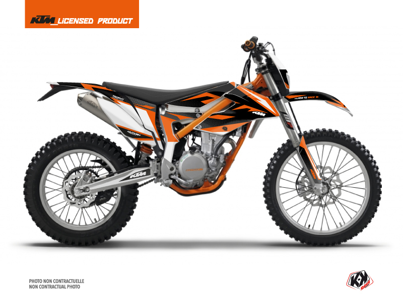 KTM 350 FREERIDE Dirt Bike Trophy Graphic Kit Black Orange