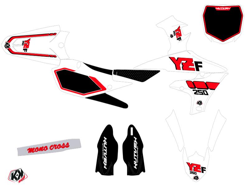 Yamaha 250 YZF Dirt Bike Vintage Graphic Kit Red