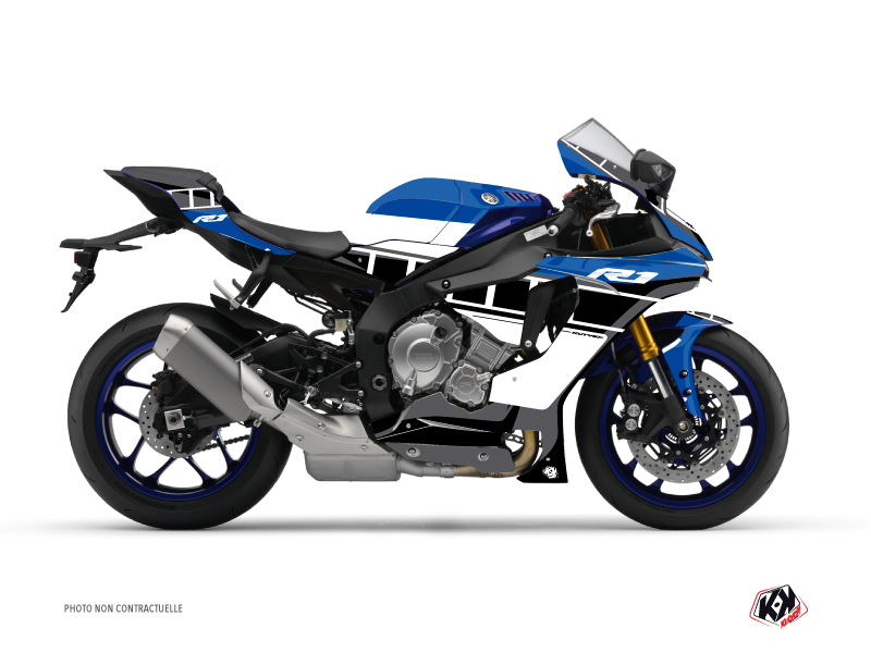 Yamaha R1 Street Bike Vintage Graphic Kit Blue