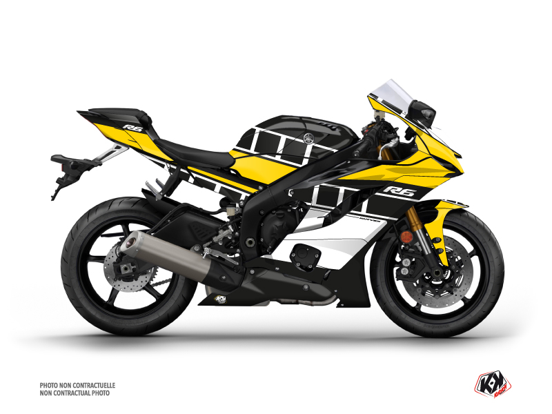 Yamaha R6 Street Bike Vintage Graphic Kit Yellow