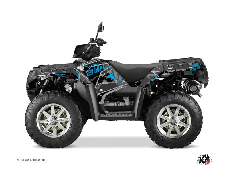 Polaris 550-850-1000 Sportsman Touring ATV Visor Graphic Kit Black Blue