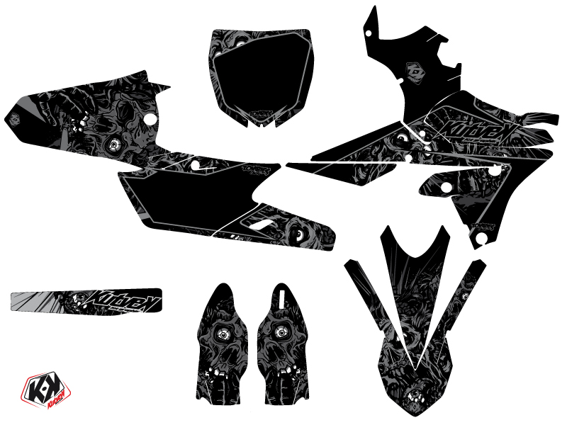 Yamaha 250 YZF Dirt Bike Zombies Dark Graphic Kit Black