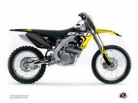 PACK Suzuki 250 RMZ Dirt Bike Halftone Graphic Kit Black Yellow + Plastics Kit 250 RMZ Black from 2010