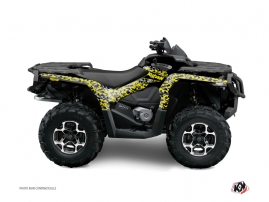 Can Am Outlander 1000 ATV Predator Graphic Kit Black Grey Yellow