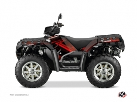 Polaris 550-850-1000 Sportsman Touring ATV Rock Graphic Kit Black Red